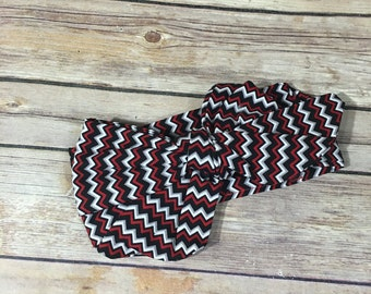 Red white black chevron headwrap