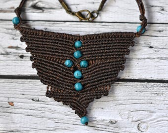 "Necklace ""Turquoise drops"" Macrame - Boho style - chocolate brown"
