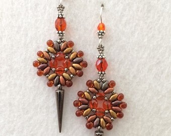 Norse Goddess Earrings with Orange Czech Crystals Beads with Spikes