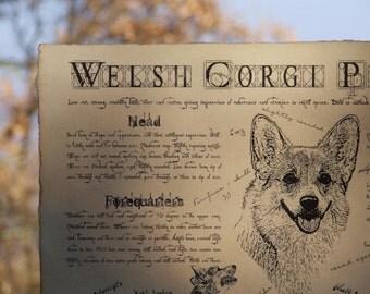 Antique styled dog standard - Welsh Corgi Pembroke