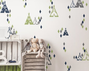 Teepee and Diamond Pattern Wall Decals - Tribal Wall Decals, Multicolored Wall Decals, Nursery Decals, Teepee Decals, Modern Nursery Decals