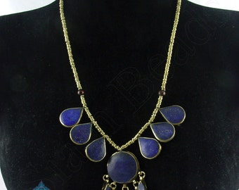 1 NECKLACE - Nepalese Handmade Lapis Brass Necklace 18 Inches Long NNA002