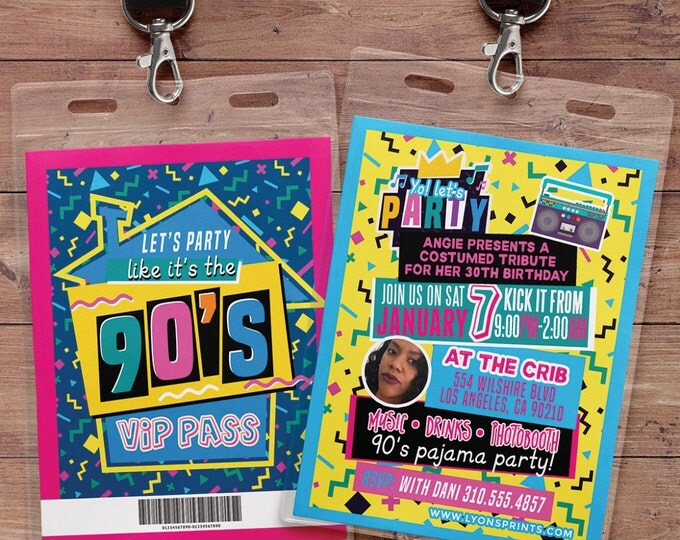 90's party, 80's party,Hip Hop, Swagger, VIP PASS, backstage pass, Vip invitation, birthday invitation, lanyard, birthday, fresh prince