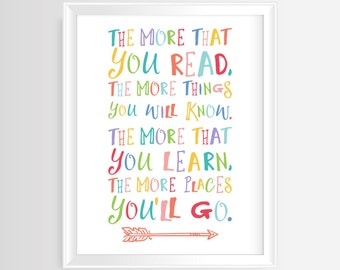 The more that you read, the more things you will know - Printable wall art-Nursery/Kids quote–8x10 and 5x7inches -JPG / PDF-Instant Download
