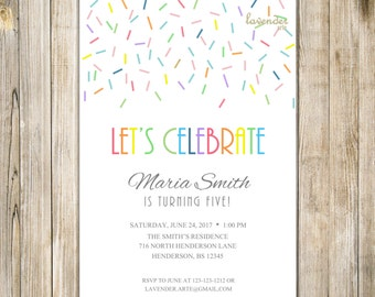 RAINBOW BIRTHDAY Invitation, COLORFUL Rainbow Confetti Party Invite, Boy Girl Birthday Celebration, Printable 1st 5th 10th First Birthday