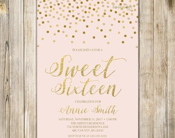 Blush PINK SWEET SIXTEEN Birthday Invitation, Printable Sweet 16 Birthday Invite, Gold Confetti Pink, Teen Quinceanera 15th 16th Birthday