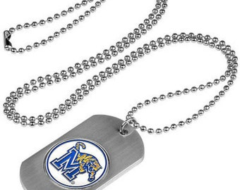 Memphis Tigers Stainless Steel Dog Tag Necklace