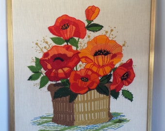 Mid Century Hand Stitched Embroidery Crewel Flowers in Basket Yarn wall art in gold toned frame 16 x 20