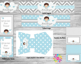 Baptism Blue / Grey !! Printable Party Set!!