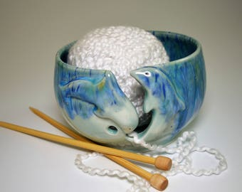 Dolphins and Star-fish yarn bowl in Sea green glaze