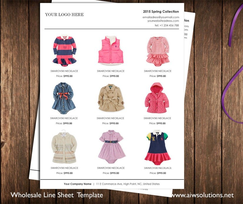 Catalog Examples: Vertical Line Sheet Wholesale Catalog Template Mini Product