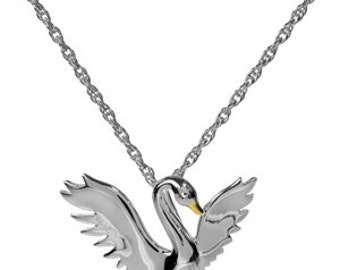 Sterling Silver Gold Vermeil Swan Necklace
