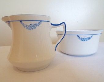 Vintage Milk Jug and Sugar Bowl By Diamond China, England. Pretty Blue and White Sugar Bowl and Creamer. Perfect For An Afternoon Tea Party