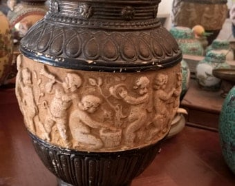 Vintage vase carved in plaster