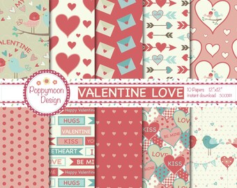 Valentine love, birds and arrows, digital paper pack