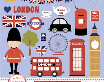 London , London icons, Big ben, union jack, digital clipart set