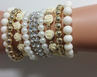 Beaded Party Wrist purse Clubbing Wrist wallet Pearl Cuff Bracelet