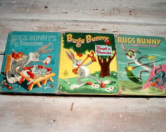 Three Bugs Bunny Books Whitman Tell A Tale From The 50s *Keeps A Promise*Big Invention*In Something Fishy* Great Graphics!
