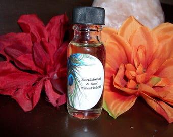 Sandalwood and Rose Essential Oil 1/2 oz Bottle