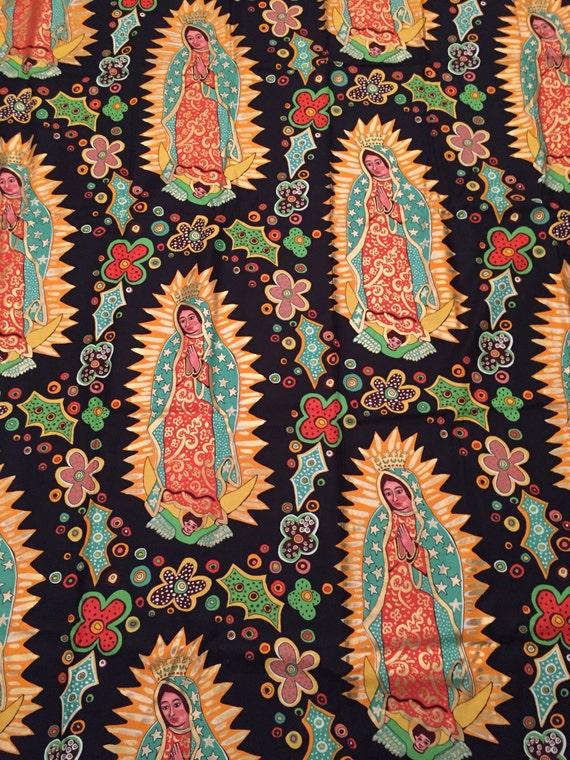 Guadalupe // guadalupe fabric // La  Virgen De Guadalupe fabric // Mexico // unique cotton fabric