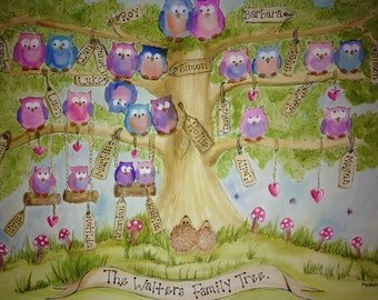 A3 Watercolour Owl Family Trees. Painted to order, Just mounted or framed.