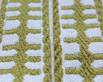 Antique 1960s woven French jacquard ribbon trim in shades of olive green & white rustic motif for vintage lovers, craft couture