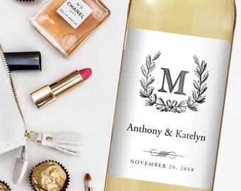 Wedding Wine Label - Custom Wine Label - Personalized Wine Label - Wedding Wine Bottle Label - Monogram Wedding