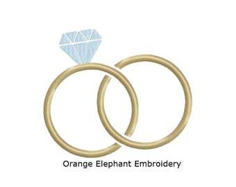 Wedding Rings Unique Urban Machine Embroidery Design digital File