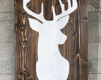 Stained Wood Deer Silhouette Sign