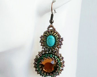 Turquoise earrings, beaded earrings, brown and turquoise cabochon, victorian, gift for her, bead embroidery, handmade jewellery.