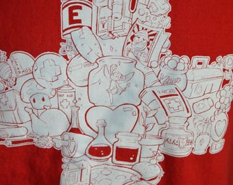 "Vintage TeeFury ""For Your Health""  Nintendo Video Games Graphic T-Shirt (Size: L)"