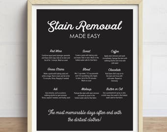 Laundry Room Art, Stain Removal Print, How to remove Stains, Laundry Guide, Laundry Instructions Print