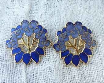 FISH - Medium-sized 22ct Gold-plated Cobalt Blue Cloisonné Enamel Pansy Stud Earrings
