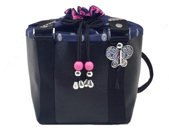 Provence Spirit Handbag black leather and pink beads