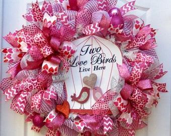 Valentine Wreath, deco mesh Valentine Wreath, Valentine's Day Wreath, Valentine mesh, Valentine Decor, Valentine Door wreath, love birds