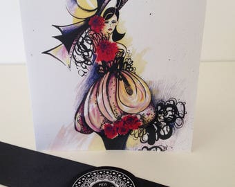 Black and white blank greeting card /Miss Rose/floral greeting card/ fashion gift card/ card for her/hand drawn card/ ink drawn card