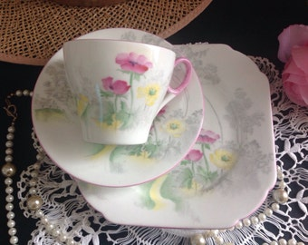 Pretty Shelley bone china trio . Orford shape.