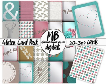 GLISTEN JOURNAL CARDS, 20-3x4 Cards, Digital Card Pack, Digital Scrapbooking, Pocket Scrapbooking, Journaling, Instant Download