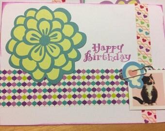 Homemade Kitty and flower Birthday Card