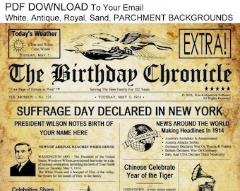 PDF - The Birthday Chronicle - Selectable Background - What Happened On Your Birthday Headline Newspaper, Newsletter Print