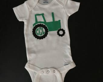 Tractor Onesies/ Personalized Tractor Onesies/ Monogrammed Tractor Onesies