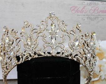 FAST Shipping!!!  Gold Swarovski Tiara,  CristalTiara ,Wedding Tiara ,Crown , Princess Tiara, Quinceanera, Cristal Headpiece