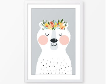 Animal print,kids print,kids poster,nursery poster,kids room decor,digital print,baby poster,bear illustration,Scandinavian style,