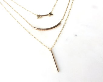 Minimal Layered Necklace, Arrow Necklace, Minimalist Gold Necklace, Dainty Necklace, Simple Necklace, Birthday Gift for Her AEXFAP