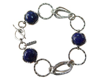 september bracelet,lapis bracelet, Birthstone bracelet, oxidized bracelet, shablool bracelet,oxidized silver bracelet, lapis stone bracelet