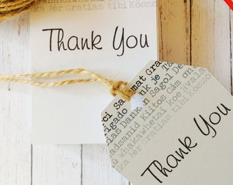Thank You Tags, Thank You note, Sellers tags, paper tags, Handmade tags, Pack of 50/100/150, seller supplies, packaging idea, cord included