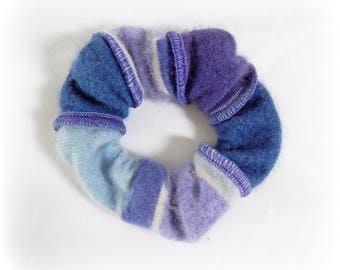 Striped Scrunchie, Soft Hairband, Ponytail Holder, Lilac Hair Elastic, Blue Hairband, Cashmere Scrunchy, Upcycled, Recycled, Eco Accessories