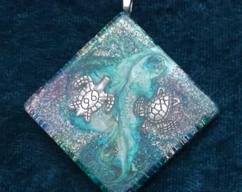 Double Turtle Swirl Third Eye Pineal Chakra-Tuning Blue Orgone 50mm Pendant 72 energy harmonizing crystals Quartz black cord silver chain