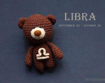 Libra zodiac teddy bear - crochet zodiac toy, Libra birthday present, horoscope Libra gift, Libra star sign - MADE TO ORDER