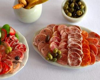 Dolls House Food: Miniature Food - A Serving Dish of Salami Deli Sausage; Spanish / Italian Antipasto [+ Meal Plates] OOAK
